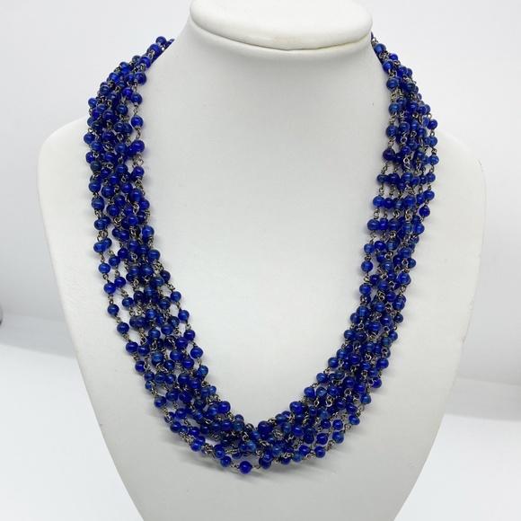 VTG Cobalt Blue Glass Bead & Silver Chain Necklace
